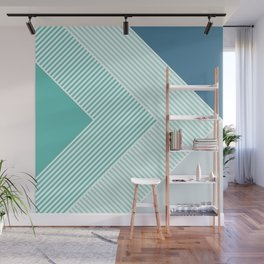 Teal Vibes - Geometric Triangle Stripes Wall Mural