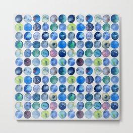 Watercolour Circles - Multicolour Metal Print
