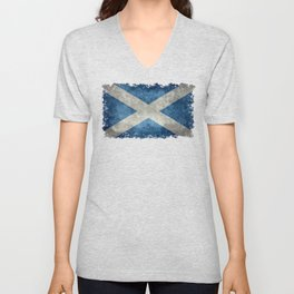 Flag of Scotland, Vintage retro style Unisex V-Neck