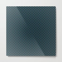 Black and Hippie Blue Polka Dots Metal Print