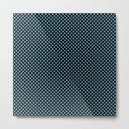 Black and Hippie Blue Polka Dots Metal Print
