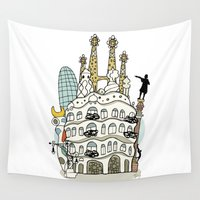 barcelona Wall Tapestries featuring Barcelona by Jaume Tenes