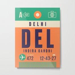Retro Airline Luggage Tag - DEL Delhi India Metal Print