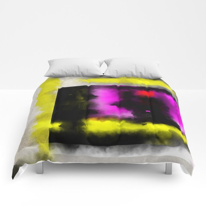 Confined - Abstract, geometric oil painting in red, black, yellow and purple Comforters