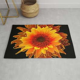 Decor Black & Brown Golden Sunflower Art Rug