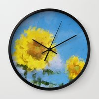sunflowers Wall Clocks featuring Sunflowers by Paul Kimble