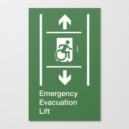 Accessible Means of Egress Icon, Emergency Evacuation Lift / Elevator Sign Canvas Print