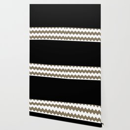 Chevron Khaki Black And White Wallpaper