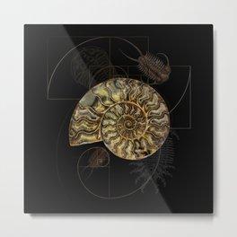 Ammonite Trilobite Fibonacci Spiral Metal Print