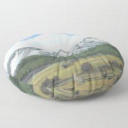 Sawtooth Mountain Landscape Art Floor Pillow