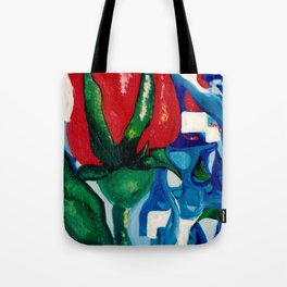 Red rose stained glass Tote Bag