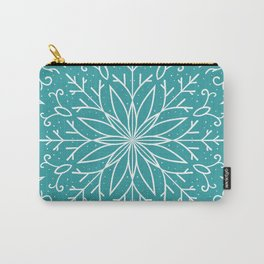 Single Snowflake - Teal Blue Carry-All Pouch