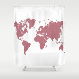 world map 25 gold rose Shower Curtain