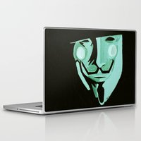 vendetta Laptop & iPad Skins featuring V, from V for Vendetta by Paxelart
