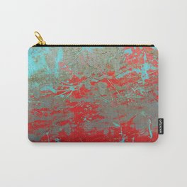 texture - aqua and red paint Carry-All Pouch