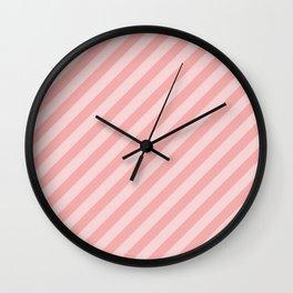 Classic Blush Pink Glossy Candy Cane Stripes Wall Clock