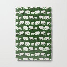 elephant march - green Metal Print