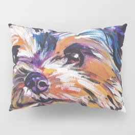 Fun Yorkie Dog Portrait bright colorful Pop Art Painting by LEA Pillow Sham