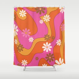 Groovy 60's and 70's Flower Power Pattern Shower Curtain