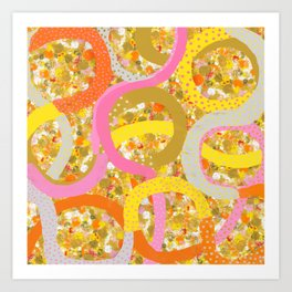 abstract worm dots Art Print