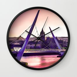Derry / Londonderry Peace Bridge. (Painting.) Wall Clock