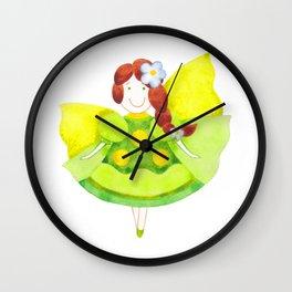 Sweet little fairy in green Wall Clock