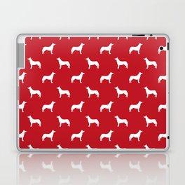 Husky dog pattern simple minimal basic dog silhouette huskies dog breed red and white Laptop & iPad Skin