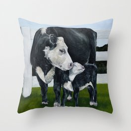 Mom and Baby Cows Throw Pillow