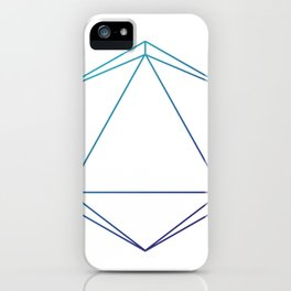D20 Roleplaying Die Icosahedron Line-Art Blue/Purple iPhone Case