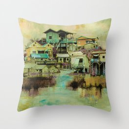 Drifting Along Tonle Sap River, Cambodia Throw Pillow