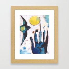 Bird and Hand Framed Art Print