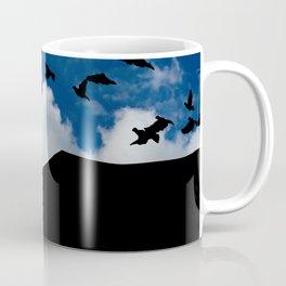 Sky, Face Profile Mountains and Black Birds Coffee Mug