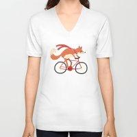 mr fox V-neck T-shirts featuring mr. fox by tesslucia