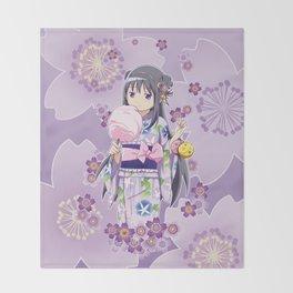 Homura Akemi (Yukata & Cherri Blossom edit) Throw Blanket