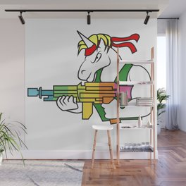 Unicorn  fighter soldier muscles weapon shooting rainbow rambo gift idea Wall Mural
