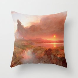 Frederic Edwin Church - Eruption at Cotopaxi - Hudson River School Oil Painting Throw Pillow