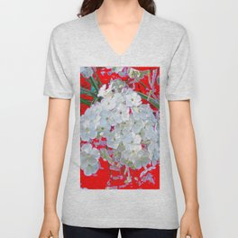 DELICATE RED & WHITE LACE FLORAL Unisex V-Neck