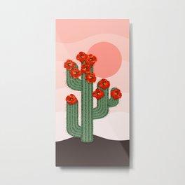Desert Pink Sunset and Poppy Cactus  Metal Print
