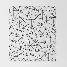 Ab Out Lines With Spots White Throw Blanket