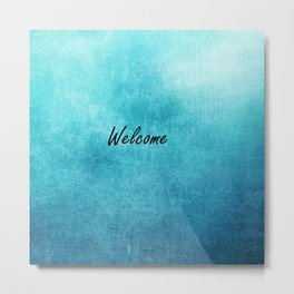 Turquoise Texture Welcome |  Texture Turquoise Metal Print