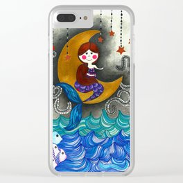 Mermaid in the moon Clear iPhone Case