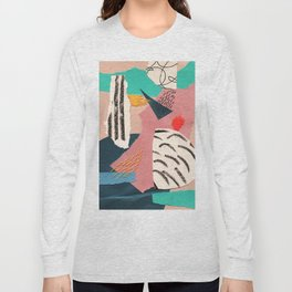 abstract collage with embroidery Long Sleeve T-shirt