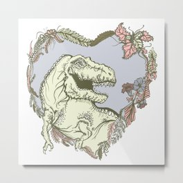 T-Rex Heart - Pink & Purple Metal Print