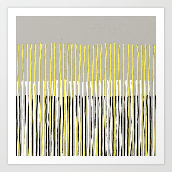 Yellow Rising - abstract stripes in yellow, grey, black & white Art Print