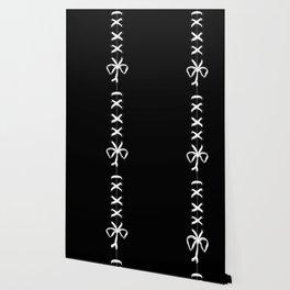Laced White Ribbon on Black Wallpaper