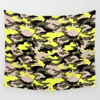 camouflage Wall Tapestries featuring camouflage by RIZA PEKER
