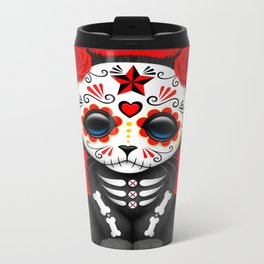 Cute Red Day of the Dead Kitten Cat Metal Travel Mug