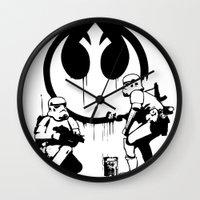 banksy Wall Clocks featuring Banksy Troopers by Don Calamari