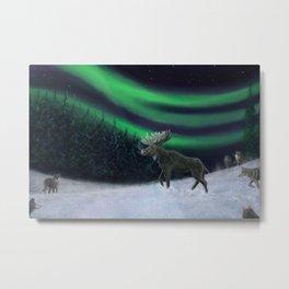 Northern Lights Moose Hunt Metal Print