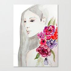Face&flowers Canvas Print